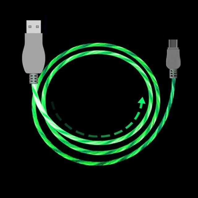 SuperFlow USB LED Flow Charging Cable 2M Long Mobile Phone Chargers Alpha Bargain For iPhone Green
