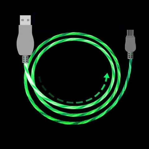 Image of SuperFlow USB LED Flow Charging Cable 2M Long Mobile Phone Chargers Alpha Bargain For iPhone Green