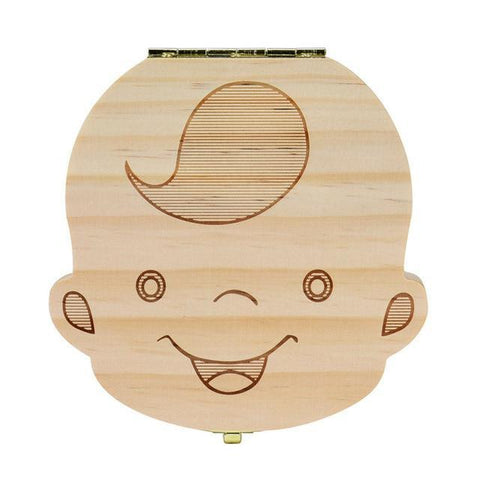 Image of Baby Wood Tooth Box Organizer - Comes in Spanish, French, Russian, and English Alpha Bargain French boy