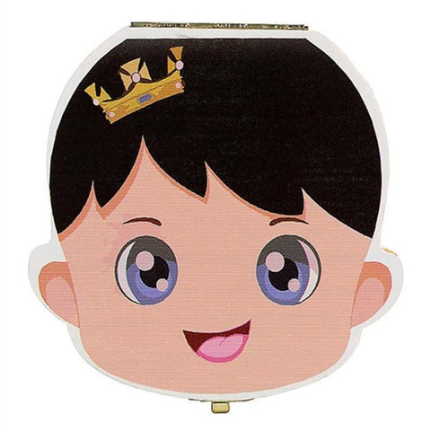 Image of Baby Wood Tooth Box Organizer - Comes in Spanish, French, Russian, and English Alpha Bargain French Boy with crown