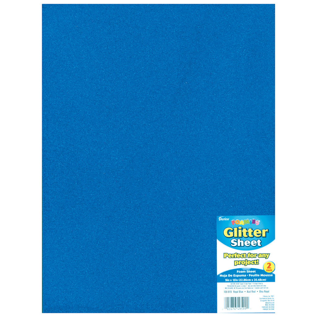 Darice Foamies Glitter Foam Sheet Royal Blue 2mm thick 9 X 12 Inches