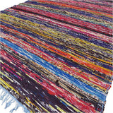 MULTI-COLOURED RECYCLED RAG THROW - 150 x 90cm