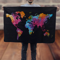 WORLD MAP COTTON WALL HANGING