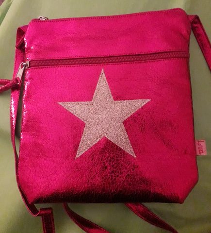 HOT PINK METALLIC STAR MESSENGER BAG - by Lua