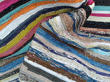 MULTI COLOURED RAG RUG RUNNER - 8ft / 240 x 75cm