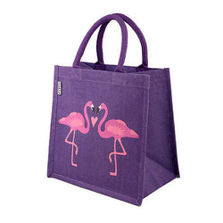 flamingo jute shopping bag purple