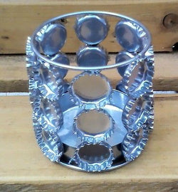 silver recycled metal bottle tops candle holder
