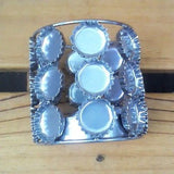 RECYCLED BOTTLE TOPS TEALIGHT HOLDER in SILVER FINISH - by Noah's Ark