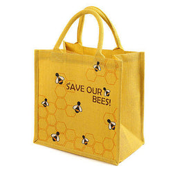 save our bees yellow jute shopping bag