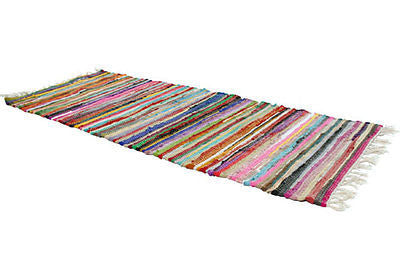 multi coloured fair trade rag rug runner 150cm