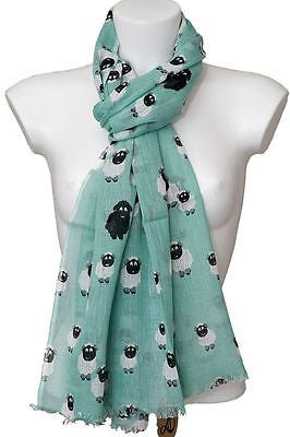 duck egg sheep print fair trade cotton scarf