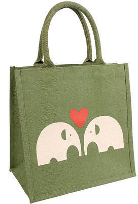 elephant jute shopping bag green