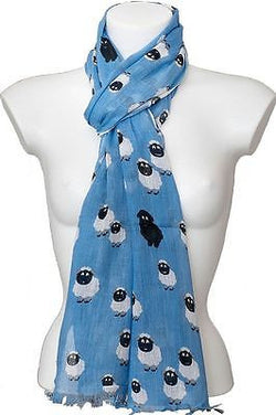 blue sheep print fair trade cotton scarf