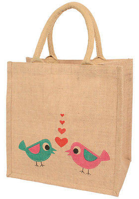 lovebirds jute shopping bag