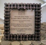 recycled bike chain 4 x 4 photo frame