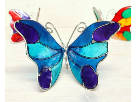 blue butterfly suncatcher window suction decoration