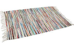 MULTI-COLOURED RECYCLED RAG RUG - SMALL 90 x 50cm
