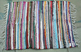 multi coloured fair trade small rag rug