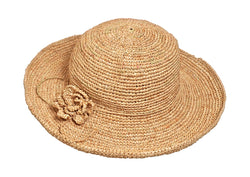PACKABLE CROCHETED NATURAL RAFFIA SUN HAT