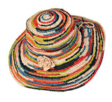 PACKABLE CROCHETED MULTI-COLOURED RAFFIA SUN HAT