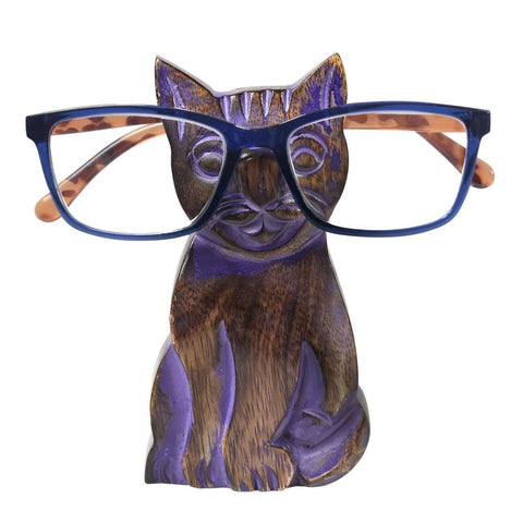 MANGO WOOD CAT SPECTACLES / GLASSES STAND