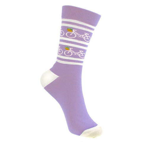LILAC BICYCLE BAMBOO SOCKS - ladies