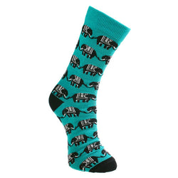 TEAL ELEPHANT BAMBOO SOCKS - mens