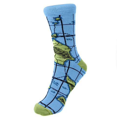 WORLD MAP BLUE BAMBOO SOCKS - mens