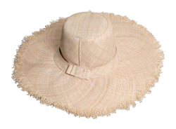 FRAYED WIDE BRIM RAFFIA HAT - by Madaraff