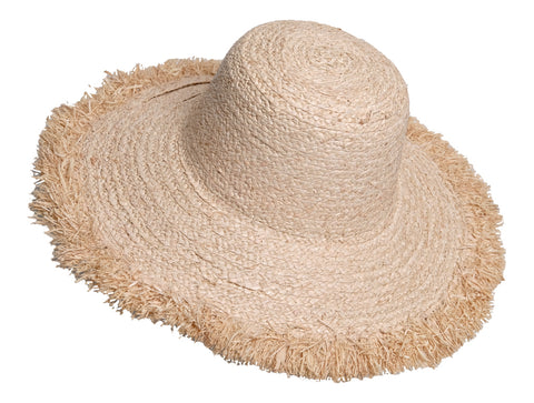 FRAYED WIDE BRIM PACKABLE RAFFIA & SISAL HAT - by Madaraff