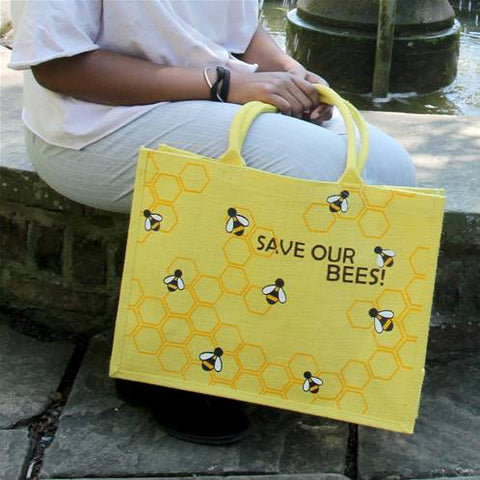 SAVE OUR BEES LARGE JUTE SHOPPING BAG - YELLOW