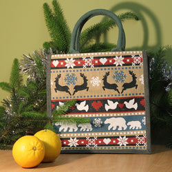 WINTER ANIMALS CHRISTMAS JUTE SHOPPING BAG