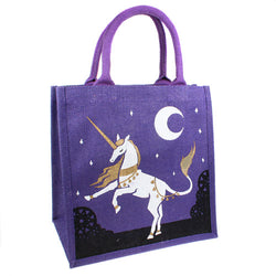 UNICORN JUTE SHOPPING BAG - PURPLE