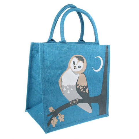 OWL JUTE SHOPPING BAG  - BLUE