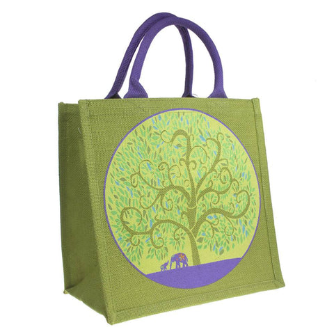 ELEPHANTS & TREE OF LIFE JUTE SHOPPING BAG - GREEN & PURPLE