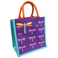 DRAGONFLIES JUTE SHOPPING BAG  - PURPLE