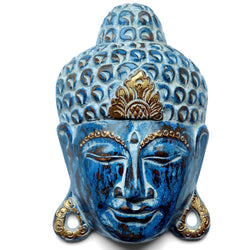 WOODEN BUDDHA MASK - blue