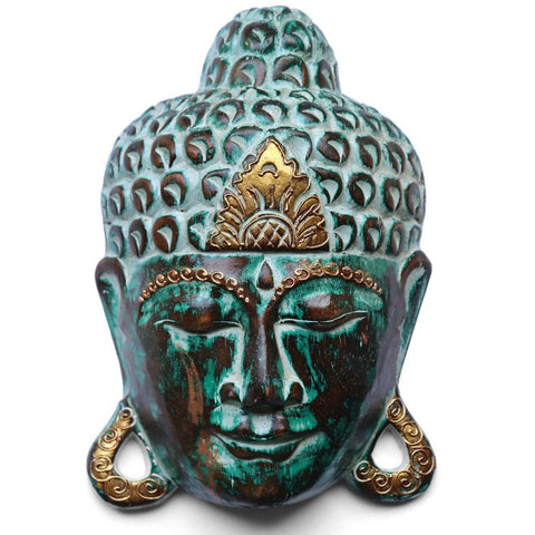 WOODEN BUDDHA MASK - green