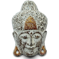 WOODEN BUDDHA MASK - white