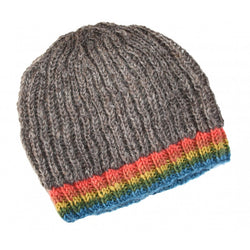 Natural Cable Knit Rainbow Edge Hat - by Lua