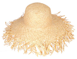 FRAYED WIDE BRIM PACKABLE RAFFIA HAT - by Madaraff