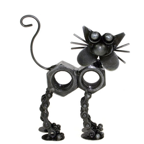 RECYCLED BIKE CHAIN & NUT CAT ORNAMENT - by Noah's Ark
