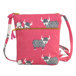 PINK HIGHLAND COW CROSS BODY BAG - by Lua