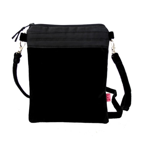 BLACK VELVET CROSS BODY BAG - by Lua