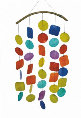 CAPIZ SHELL WINDCHIME MOBILE - RAINBOW