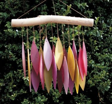 PINKY LEAVES GLASS WINDCHIME