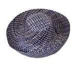 BLUE CHECK WIDE BRIM PACKABLE RAFFIA HAT - by Madaraff