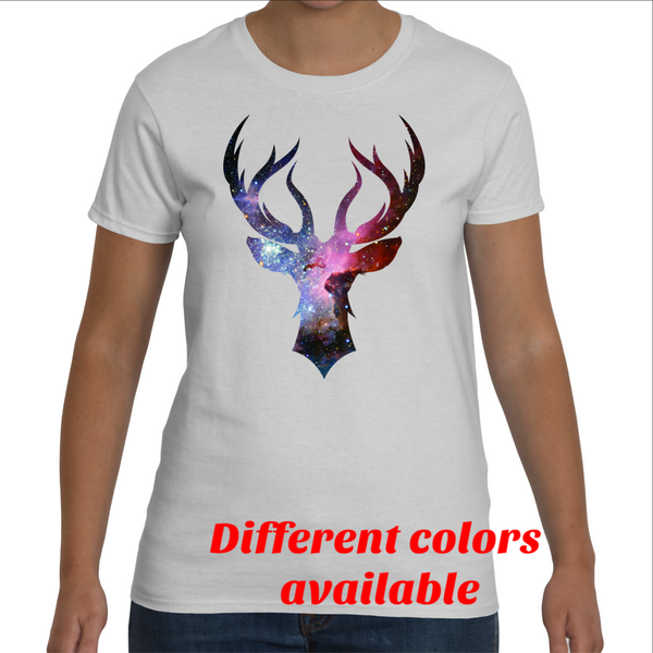 Stag Head Nebula Variant - Women's - White Rock Clothing T-Shirt - t-shirt