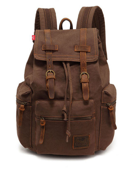 Vintage Travel Canvas Backpack - Coffee