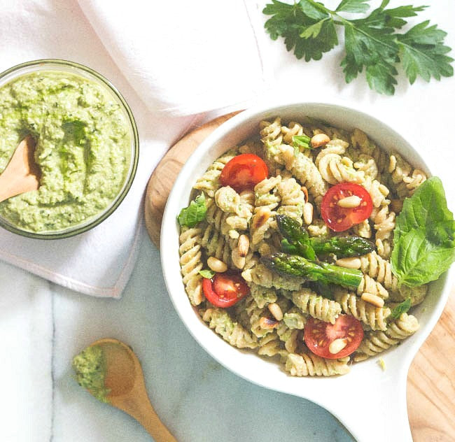 Roasted Asparagus Pesto with Pasta